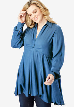 The Fit-and-Flare Crinkle Tunic with High-Low Hem, DUSTY INDIGO