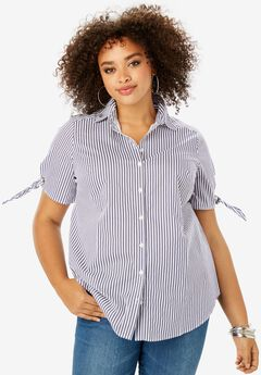 Short-Sleeve Kate Shirt with Tie-Sleeves,