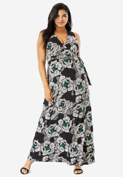 Sleeveless Wrap Dress with Tie Waist, BLACK GRAPHIC FLORAL