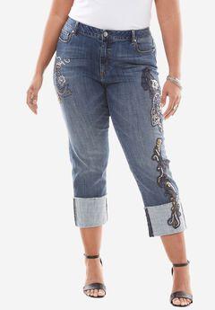 Sequin Cuffed Jean by Denim 24/7®, INDIGO WASH, hi-res
