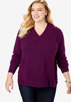 Soft Luxe V-Neck Sweater, DARK BERRY
