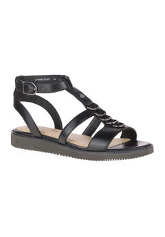 Briard Ring T-Strap Sandals by Hush Puppies®, BLACK LEATHER, hi-res
