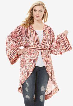 Multi-Print Kimono Jacket, MULTI PRINT, hi-res