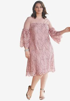 Illusion Bell-Sleeve Dress, PINK LACE, hi-res