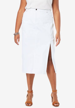 Midi Jean Skirt, WHITE DENIM