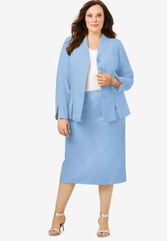 Two-Piece Skirt Suit with Shawl-Collar Jacket, POWDER BLUE