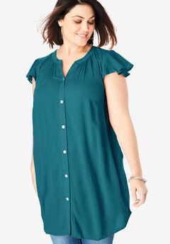 Flutter-Sleeve Crinkle Tunic,