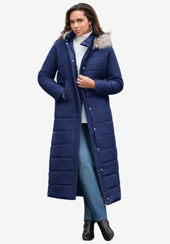 Maxi-Length Quilted Parka with Hood, EVENING BLUE