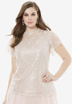 Metallic Illusion Top, PALE BLUSH PRINT, hi-res