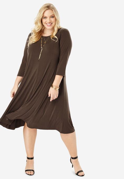 611b4fef0019 Three-Quarter-Sleeve Swing Drape Dress| Plus Size Casual Dresses ...