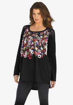 Floral-Print Lace Tunic, BLACK FLORAL PLACEMENT