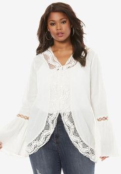 Crochet Bell Sleeve Tunic, IVORY, hi-res