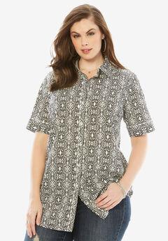 Kate Short-Sleeve Shirt, BLACK WHITE TRIBAL