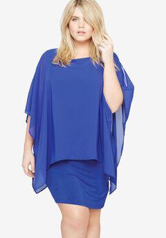 Chiffon Overlay Dress by Castaluna, BLUE, hi-res