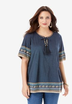 Embroidered Lace-Up Tee,