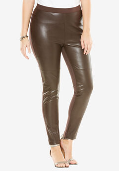 Faux Leather Legging, CHOCOLATE, hi-res