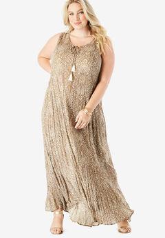 Crinkle A-Line Maxi Dress, NATURAL FLORAL MEDALLION