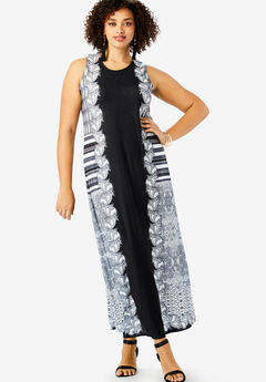 Ultra Smooth Print Maxi Dress, BLACK ETCHED STRIPE