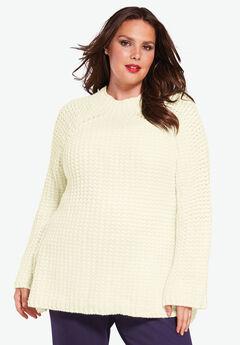 Tweed Mockneck Sweater, IVORY