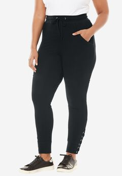 Lace-Up Capri Jogger, BLACK, hi-res
