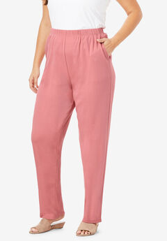 Straight-Leg Soft Knit Pant, DESERT ROSE