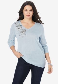 Fine Gauge Embellished Pullover Sweater,
