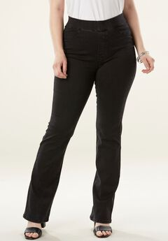 The No-Gap Slim Ankle-Length Bootcut Jean by Denim 24/7®, BLACK