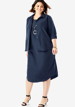 Three-Quarter Sleeve Jacket Dress Set with Button Front, NAVY
