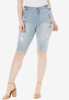 Bermuda Shorts with Invisible Stretch® Waistband by Denim 24/7®, MULTI EMBROIDERY, hi-res