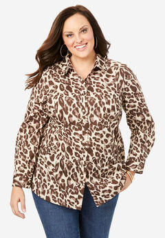 Long-Sleeve Kate Shirt, NATURAL CHEETAH