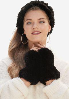 Faux Fur Gloves, BLACK, hi-res