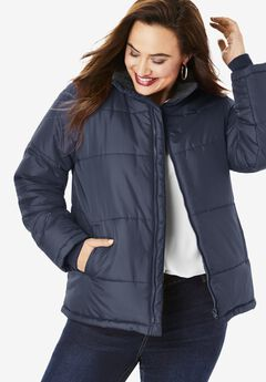 Short Puffer Jacket, NAVY