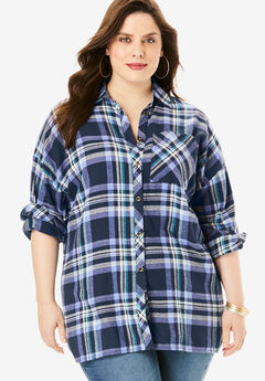Flannel Tunic, NAVY PLAID