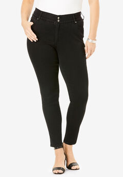 The Skinny-Leg Curvy Jean by Denim 24/7®, BLACK