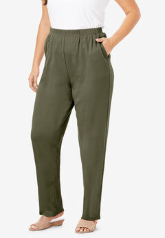 Straight-Leg Soft Knit Pant, DARK OLIVE GREEN