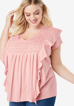 Smocked Ruffle Tee, SOFT BLUSH