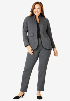 2-Piece Ponte Pantsuit with Ruffle Trim,