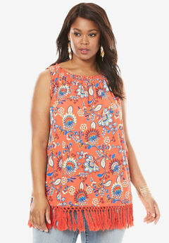 Crochet Trapeze Tunic Tank, FLAME RED FLORAL PRINT