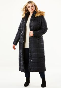 Quilted Faux-Fur Trim Maxi Length Parka, BLACK