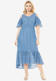 Cold Shoulder Lace Dress, BLUE CLOUD