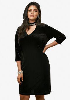 Velvet Keyhole Dress by Ronnie Nicole, BLACK, hi-res