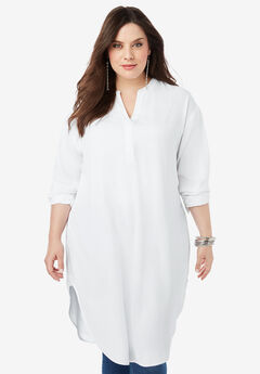 Georgette Pullover Ultra Tunic with High-Low Hem,