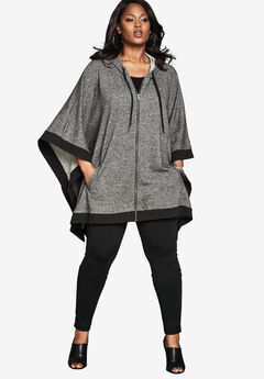 Hooded Zip Poncho, MEDIUM HEATHER GREY MARLED, hi-res