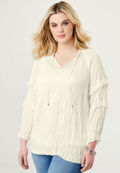 Notch Neck Ruffle Top, IVORY