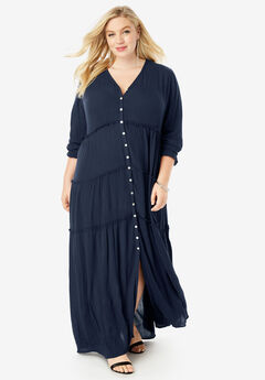 Tiered Crinkle Maxi Dress with Blouson Sleeves, NAVY