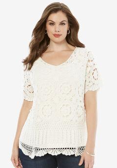 Crochet Sweater, WHITE, hi-res
