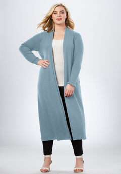 Duster Cardigan with Rib Trim, BLUE LAKE, hi-res