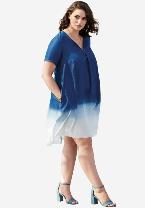 20e41b4ef5473 Dip-Dyed Denim Shirtdress| Plus Size Dresses | Roaman's