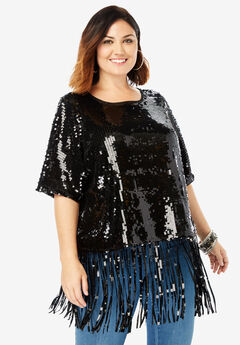 Sequin Fringe Tee, BLACK