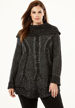Cowl Neck Cable Pullover,